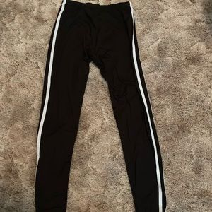 Pants - Black leggings with white stripes on sides